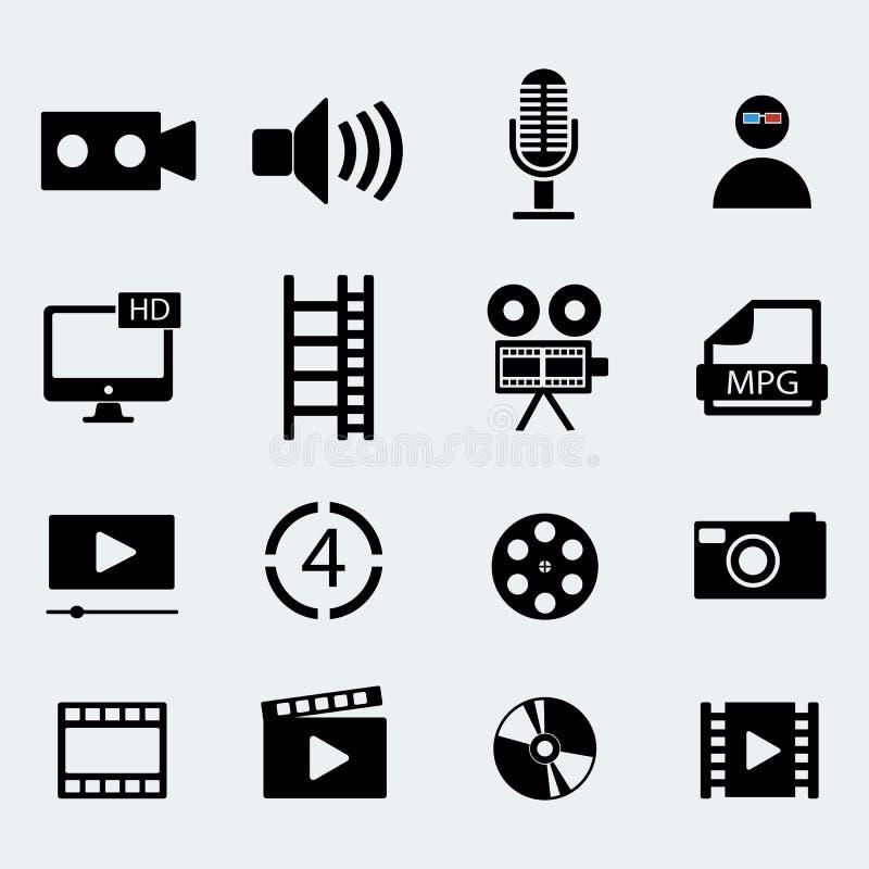 Комплект 16 значков видео кино также вектор иллюстрации притяжки corel иллюстрация штока