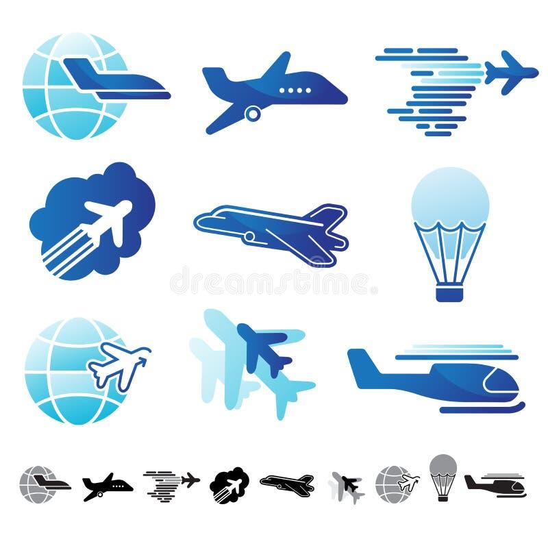 Комплект значков воздушных судн иллюстрация вектора