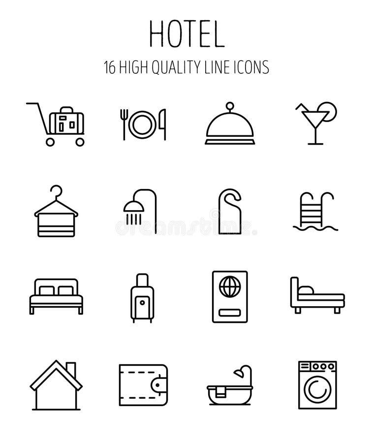 Комплект значков гостиницы в современной тонкой линии стиле иллюстрация штока