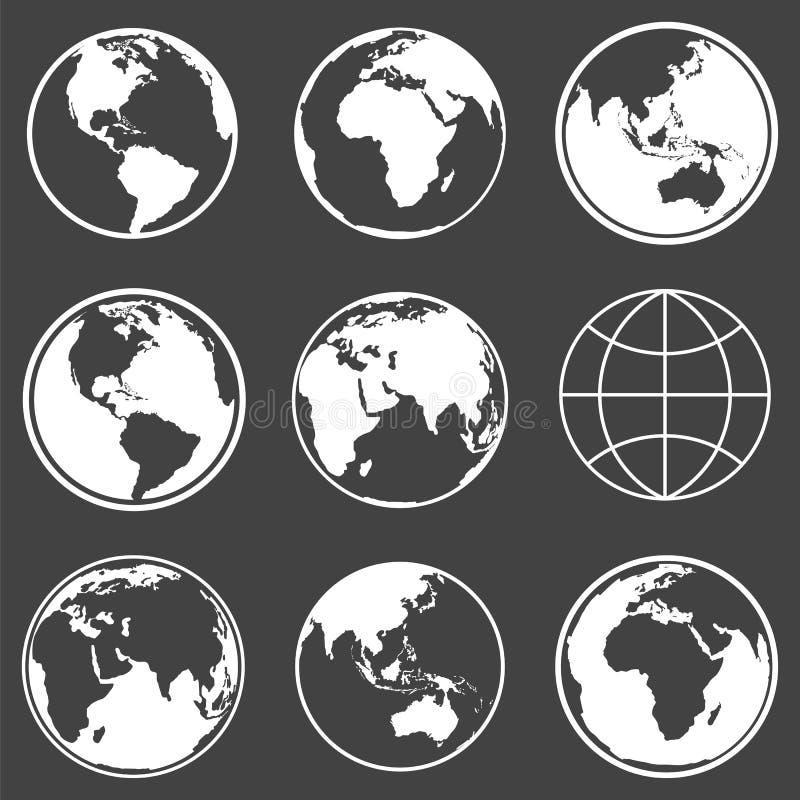 Комплект значков глобуса планеты земли вектор бесплатная иллюстрация