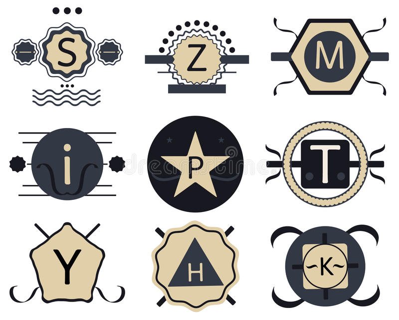 Комплект значков, лент и ярлыков ретро битника винтажных иллюстрация штока