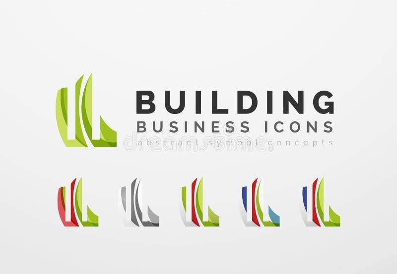 Комплект значков дела логотипа недвижимости или здания бесплатная иллюстрация