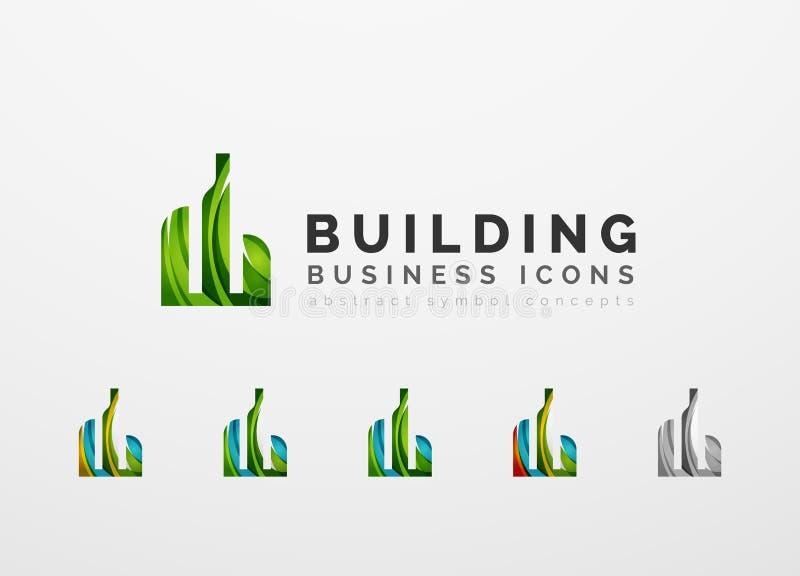 Комплект значков дела логотипа недвижимости или здания иллюстрация вектора