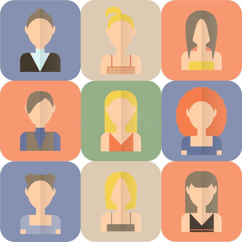Комплект значков женщин плоских бесплатная иллюстрация