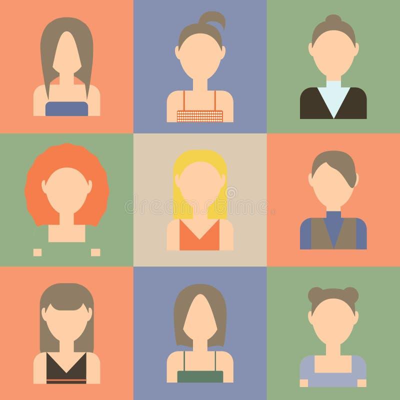 Комплект значков женщин плоских иллюстрация вектора