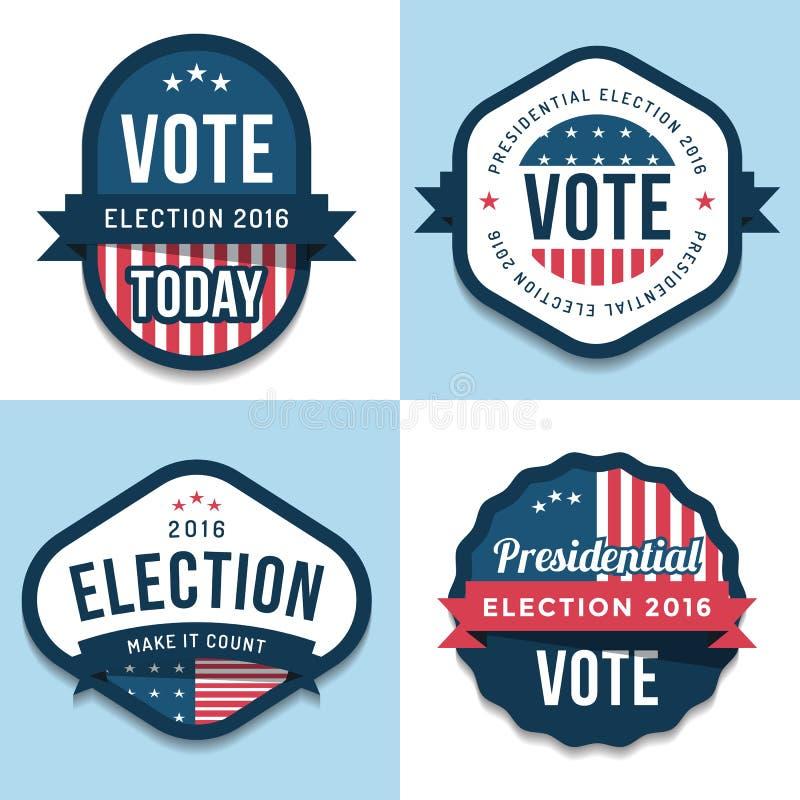 Комплект значков, знамя, ярлыки, дизайн эмблемы на объединенное избрание 2016 положения Политичное голосование элементы конструкц иллюстрация вектора