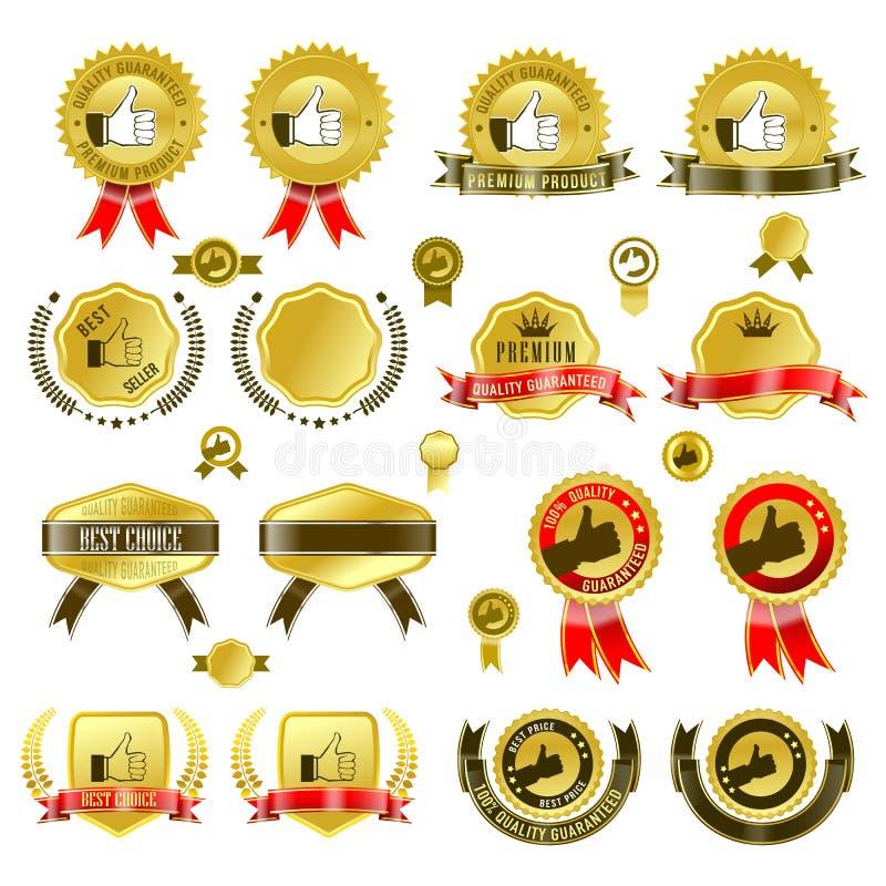 Комплект значков золота с лентой и стикеры vector иллюстрация, с знаменем бирки иллюстрация вектора