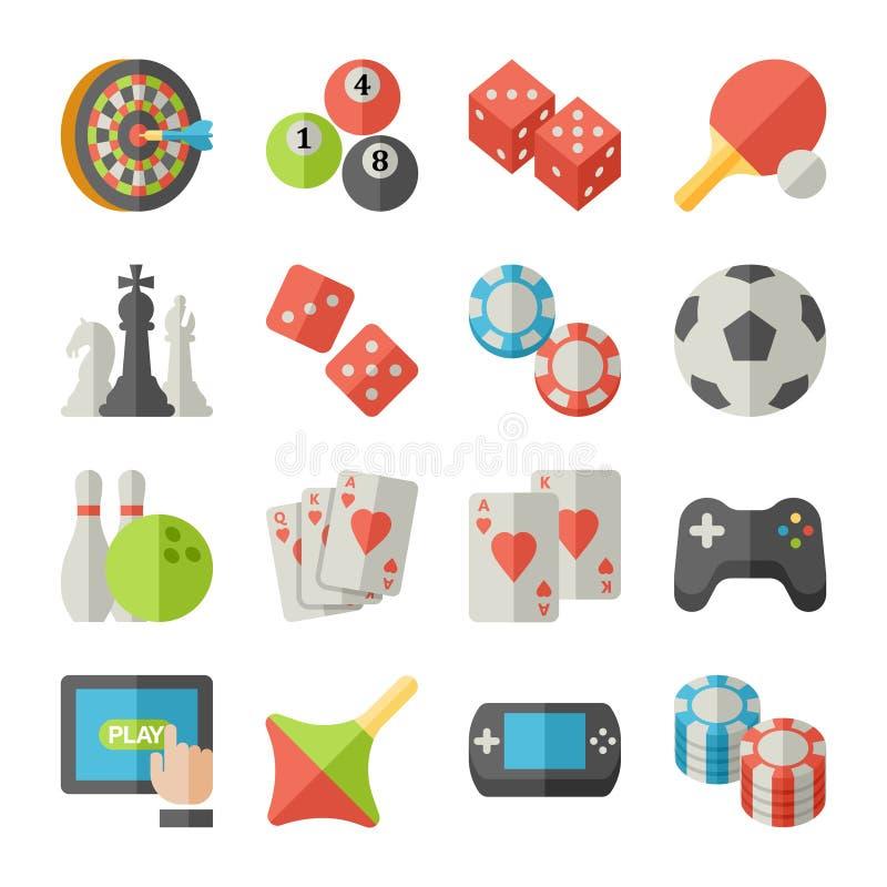 Комплект значков игры в плоском стиле дизайна иллюстрация вектора