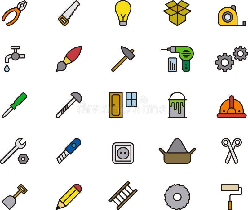Комплект значков или символов инструментов иллюстрация вектора