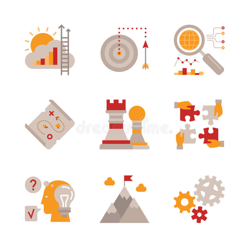 Комплект значков и концепций дела вектора в плоском стиле иллюстрация штока