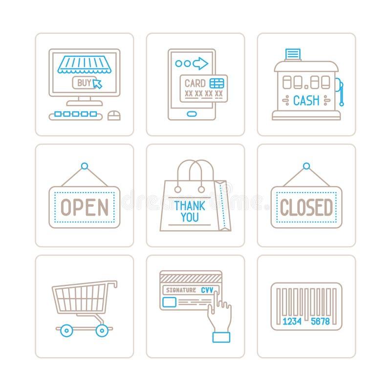 Комплект значков и концепций покупок вектора в mono тонкой линии стиле бесплатная иллюстрация
