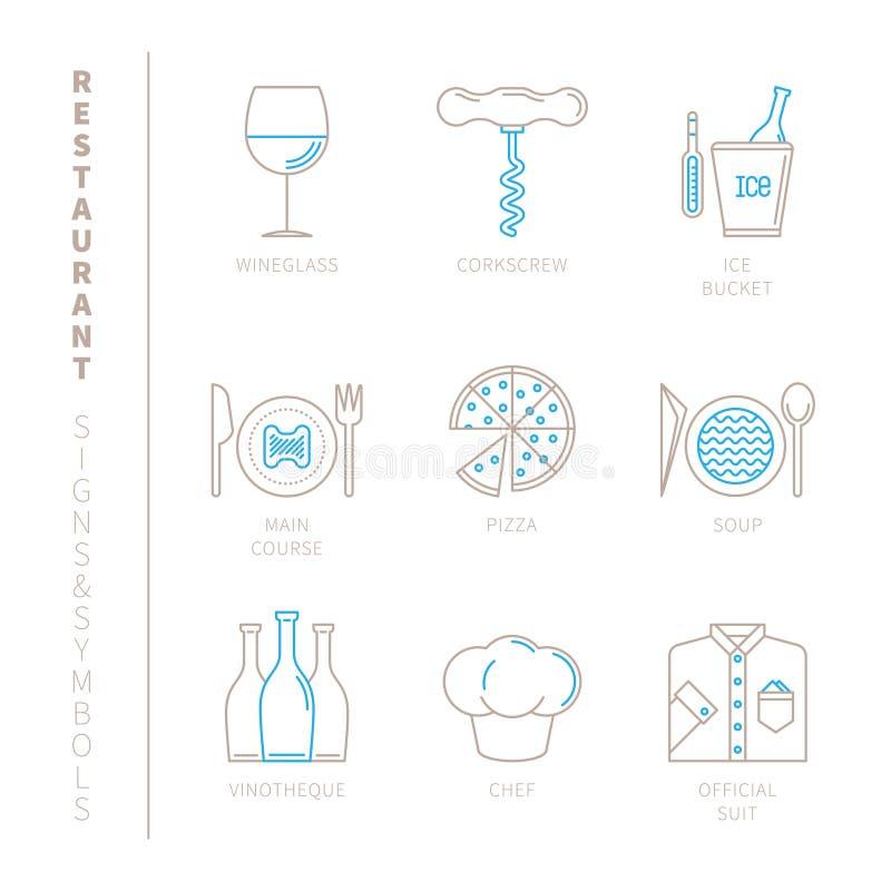 Комплект значков и концепций ресторана вектора в mono тонкой линии стиле иллюстрация штока