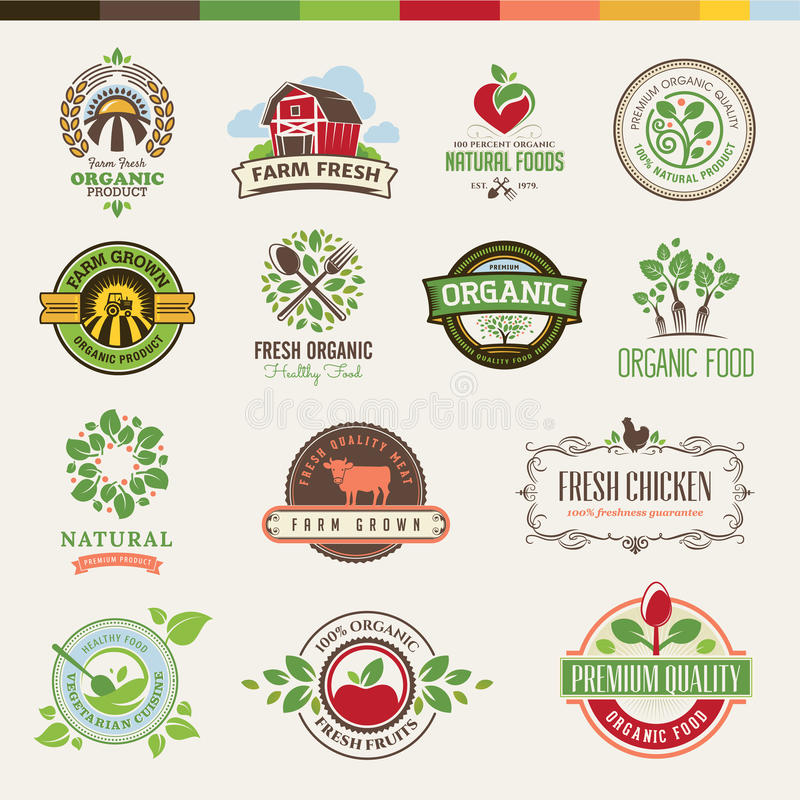 Комплект значков и стикеров для органических продуктов бесплатная иллюстрация