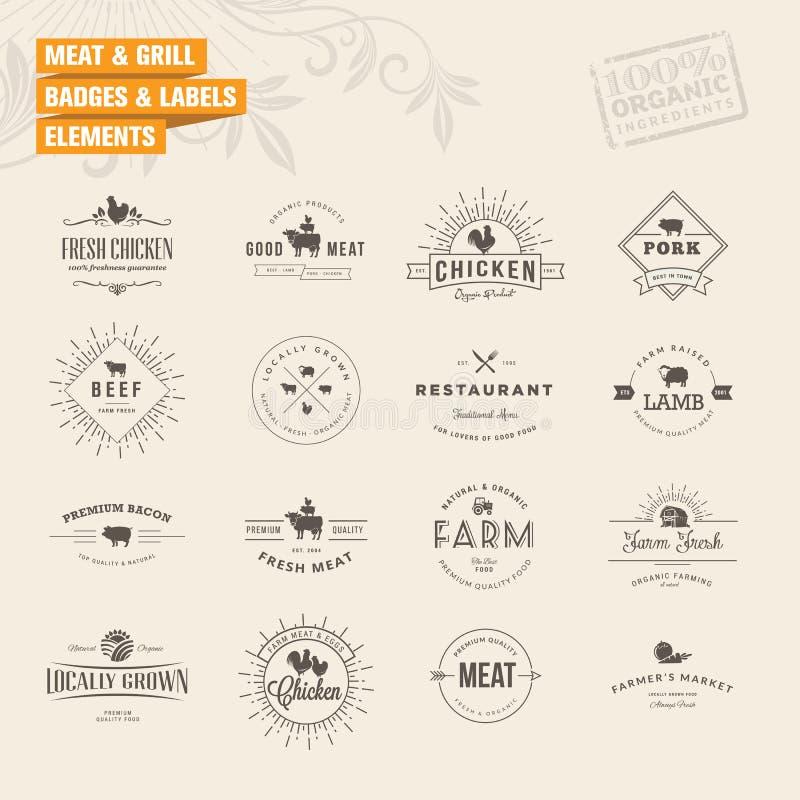 Комплект значков и элементов ярлыков для мяса и гриля бесплатная иллюстрация