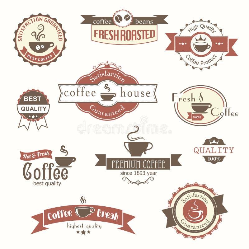 Комплект значков и ярлыков кофе винтажных иллюстрация вектора