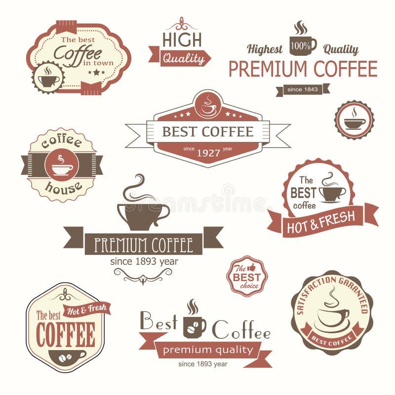 Комплект значков и ярлыков кофе винтажных иллюстрация штока