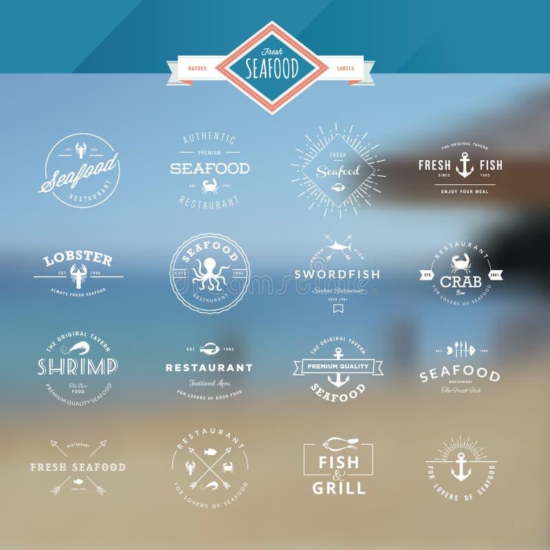 Комплект значков и ярлыков для морепродуктов иллюстрация вектора