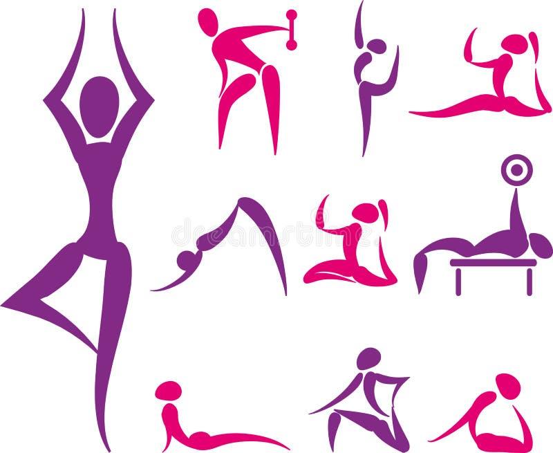 Комплект значков йоги и спорта иллюстрация штока