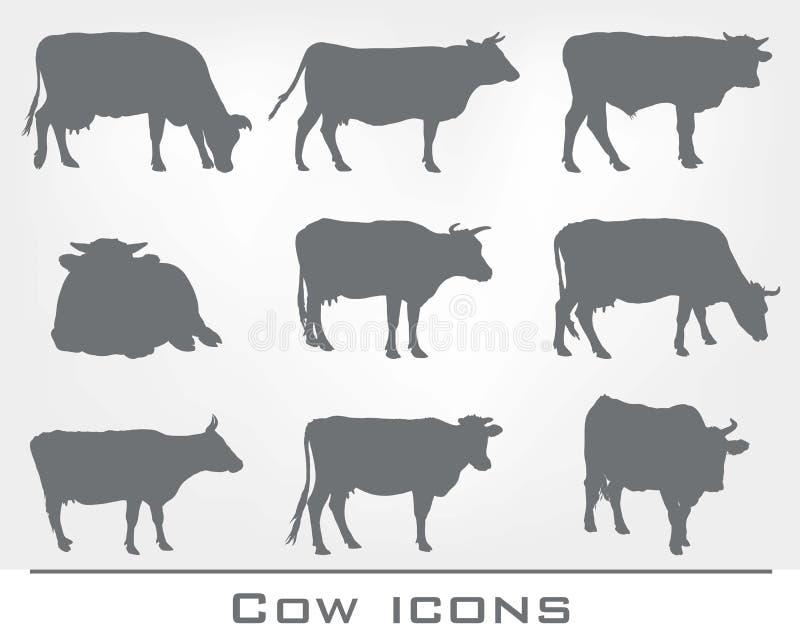 Комплект значков коровы иллюстрация вектора