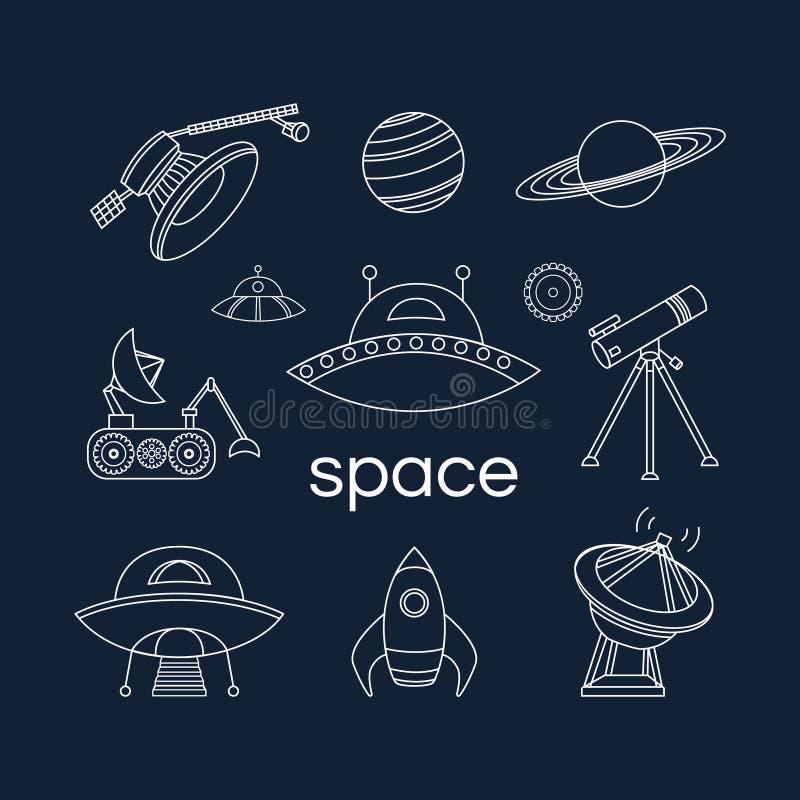 Комплект значков космоса иллюстрация штока