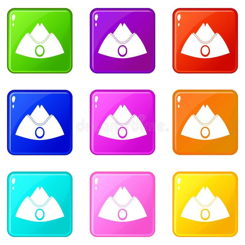 Комплект значков 9 крышки фуража бесплатная иллюстрация