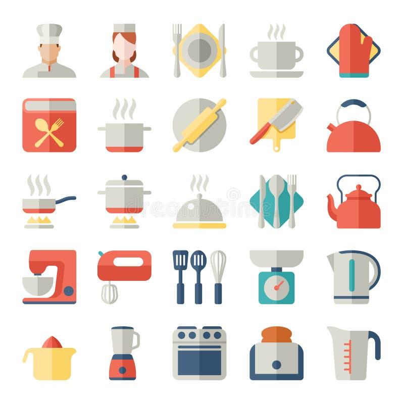 Комплект значков кухни в плоском дизайне иллюстрация вектора