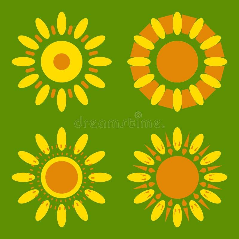 Комплект значков маргаритки Силуэты простых цветков вектора иллюстрация штока