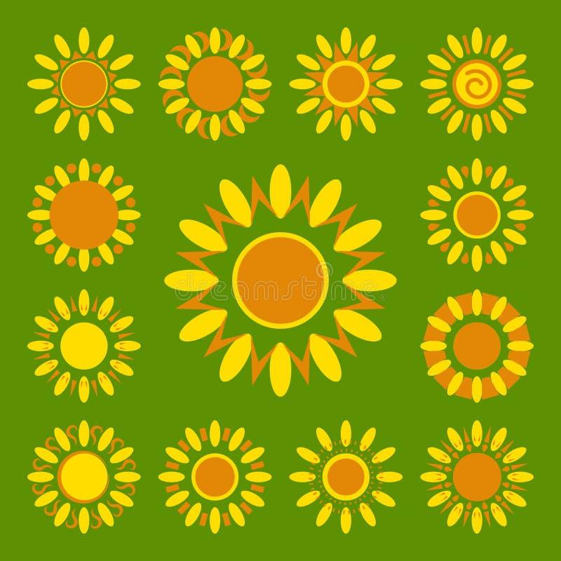 Комплект значков маргаритки Силуэты простых цветков вектора иллюстрация вектора