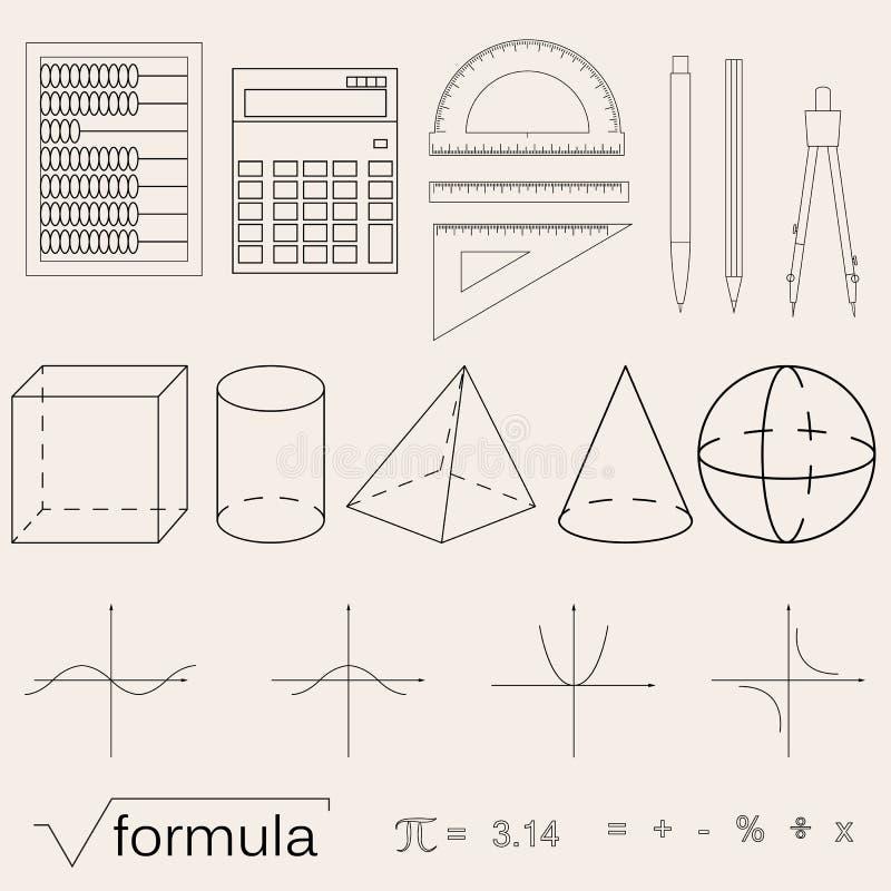 Комплект значков математики линейный стиль Знание математики и геометрии иллюстрация вектора