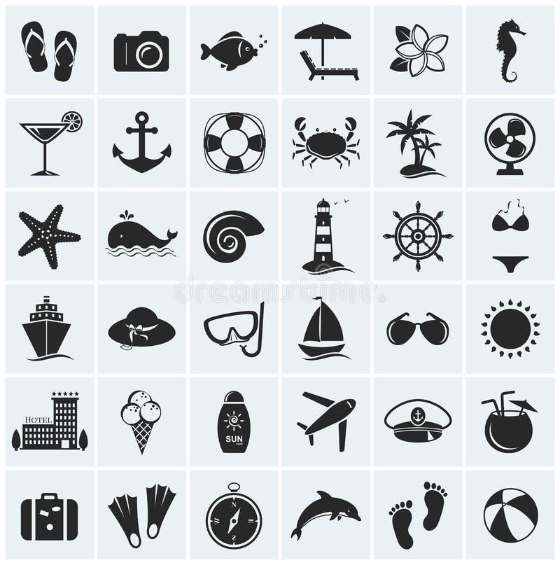 Комплект значков моря и пляжа. Иллюстрация вектора. иллюстрация вектора