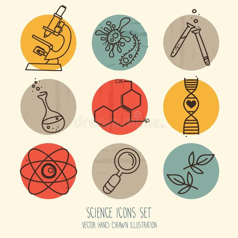 Комплект значков науки в нарисованном рукой стиле шаржа иллюстрация вектора