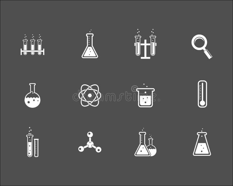Комплект значков науки и исследования иллюстрация вектора
