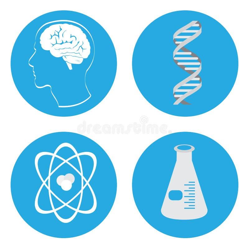 Комплект значков науки бесплатная иллюстрация
