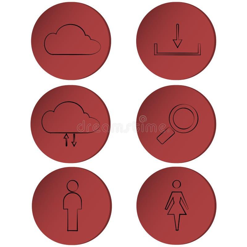 Комплект значков на красном круге, кнопок плана, лент иллюстрация штока