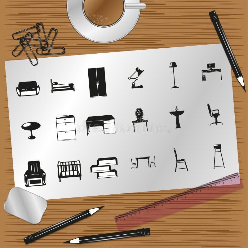 Комплект значков на теме мебели и дизайна интерьера бесплатная иллюстрация