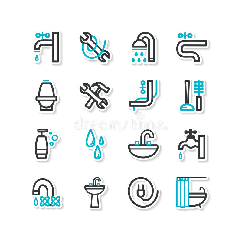 Комплект значков - оборудование ванной комнаты, ремонт бесплатная иллюстрация