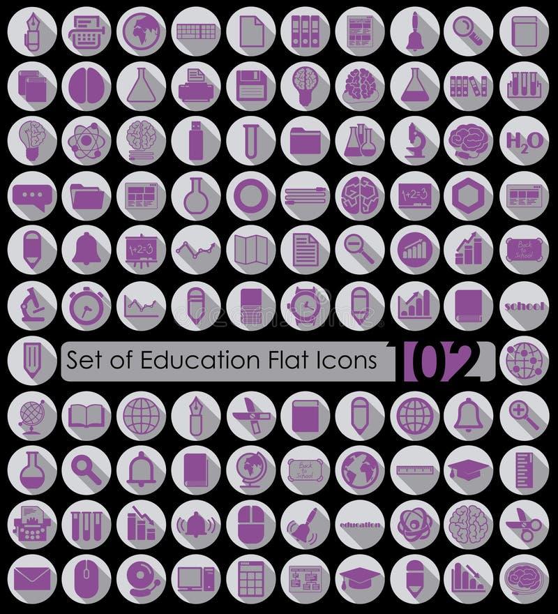 Комплект значков образования плоских иллюстрация вектора