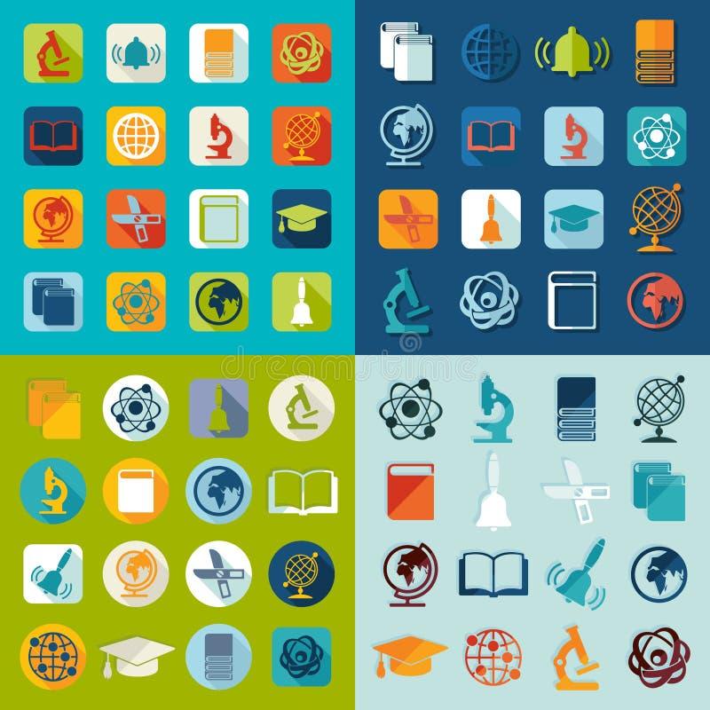 Комплект значков образования плоских бесплатная иллюстрация