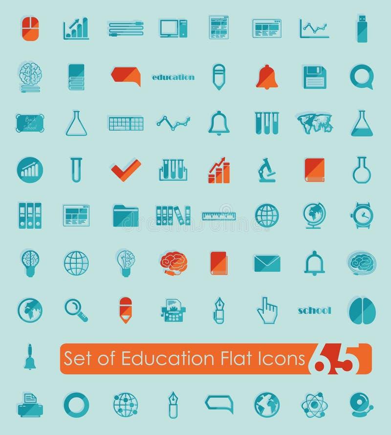 Комплект значков образования плоских иллюстрация штока