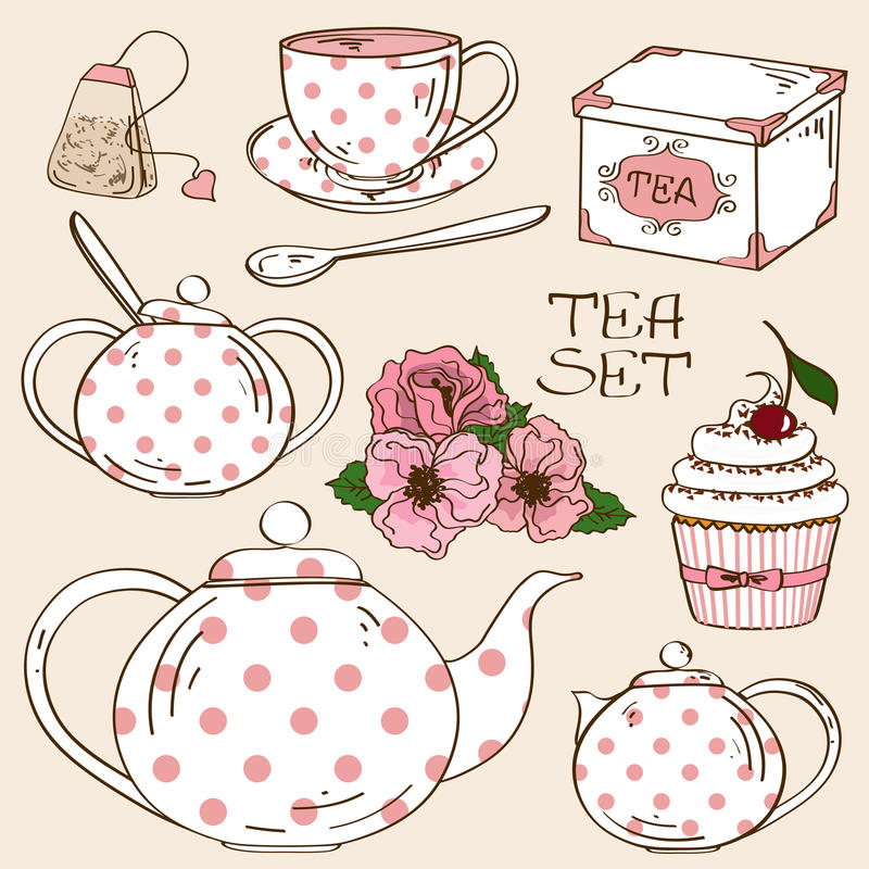 Комплект значков обслуживания чая иллюстрация штока