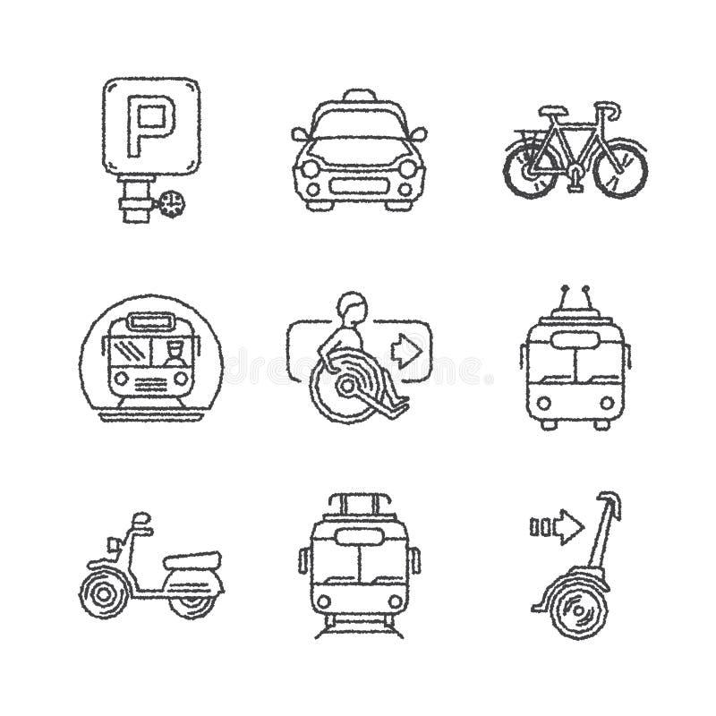 Комплект значков общественного транспорта вектора в стиле ketch бесплатная иллюстрация
