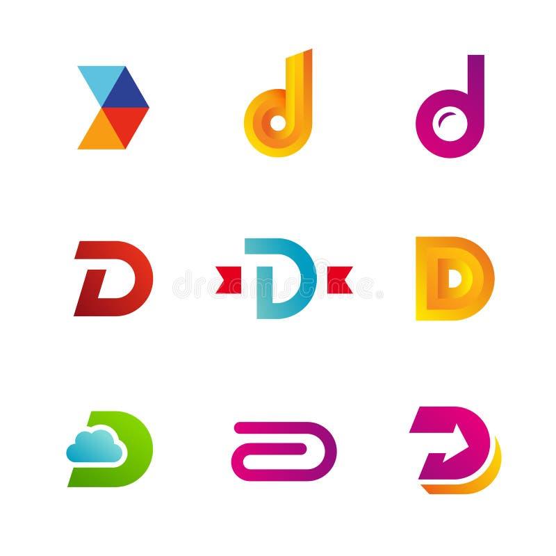 Комплект значков логотипа письма d конструирует элементы шаблона иллюстрация вектора