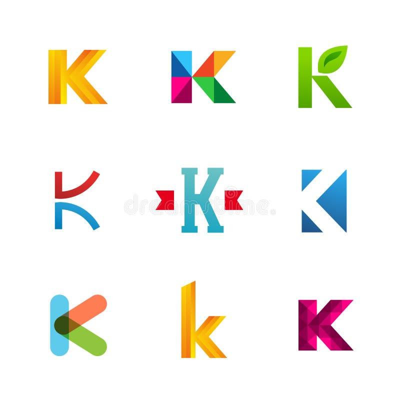 Комплект значков логотипа письма k конструирует элементы шаблона Коллекция иллюстрация штока