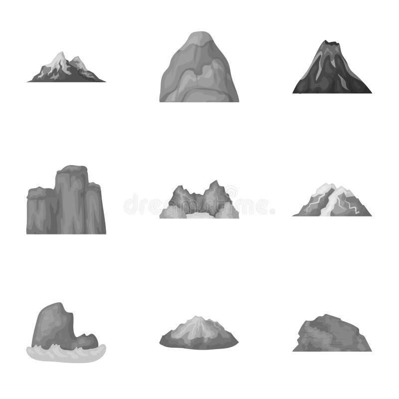 Комплект значков о различных горах Зима, горы лета в одном собрании Различный значок гор в комплекте иллюстрация вектора