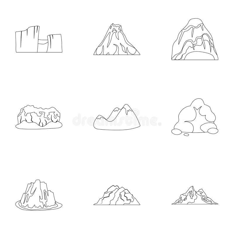 Комплект значков о различных горах Зима, горы лета в одном собрании Различный значок гор в комплекте бесплатная иллюстрация