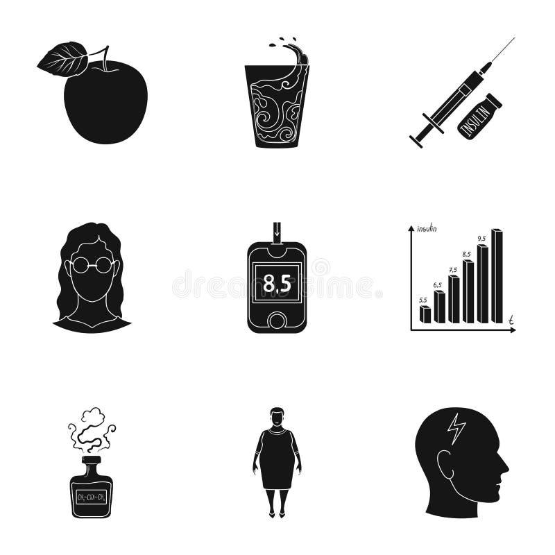 Комплект значков о сахарных диабетах Симптомы и обработка диабета Значок диабета в собрании комплекта на черноте иллюстрация штока