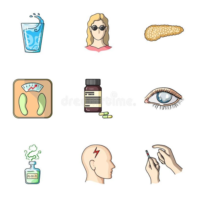 Комплект значков о сахарных диабетах Симптомы и обработка диабета Значок диабета в собрании комплекта на шарже иллюстрация вектора