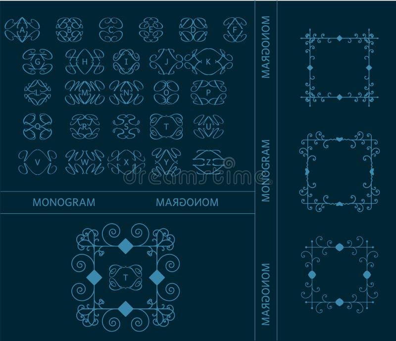 Комплект значков письма вензеля алфавита ретро винтажных, лент бесплатная иллюстрация