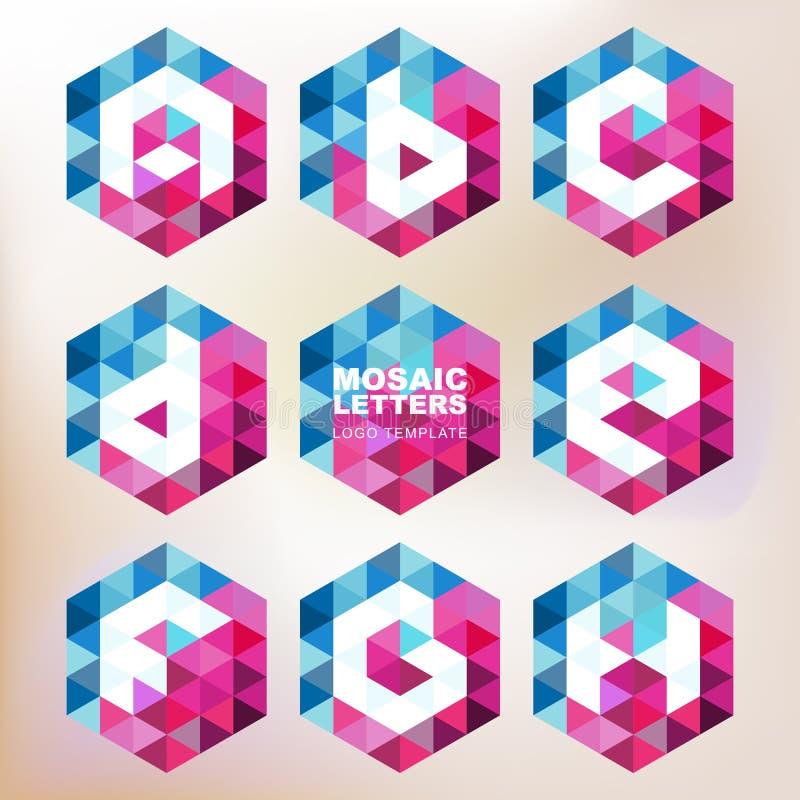 Комплект значков письма мозаики Геометрический шаблон дизайна логотипа сборники бесплатная иллюстрация