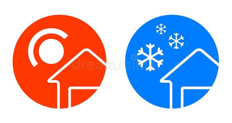 Комплект 2 значков погоды иллюстрация вектора